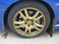 "Subaru Impreza Bugeye Blob Sti 17"" 5X100 Gold Alloy Wheels & Tyres"
