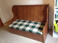 Beautiful Stained Oregon Pine Monk's Bench Hallway Seat Pew Storage