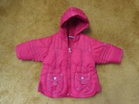 Girl's NEXT red hooded coat 3-6 months