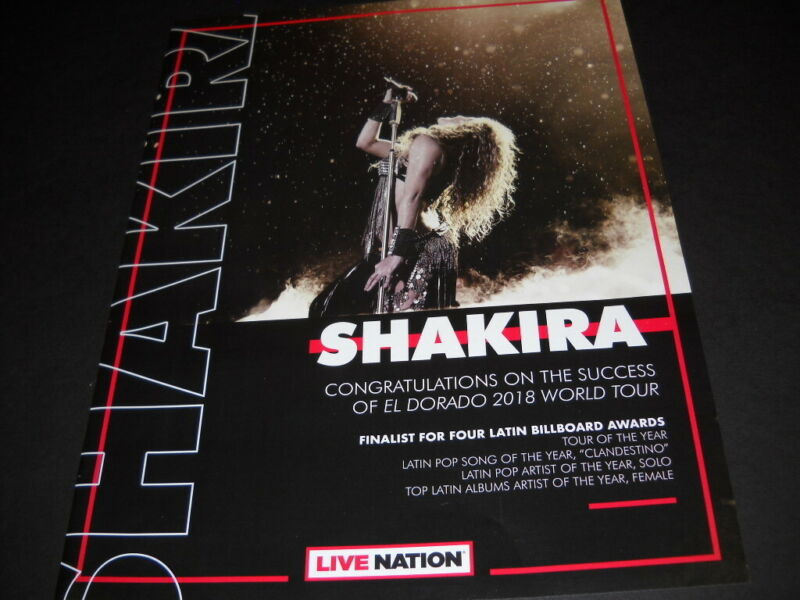 SHAKIRA Congrats World Tour/Finalist Four Latin BB Awards 2019 PROMO POSTER AD