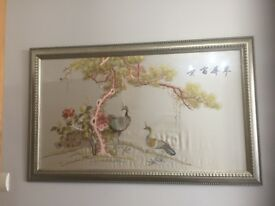 STUNNING CHINESE SILK PICTURES HAND EMBROIDERED BIRDS - IMMACULATE CONDITION