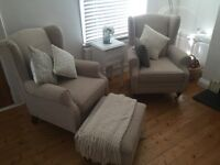 Fireside Armchairs x 2 and matching Footstool
