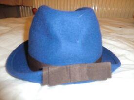 100% wool blue hat