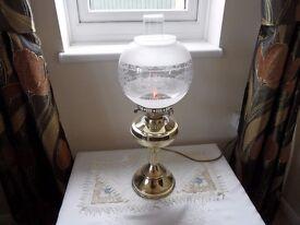 VINTAGE BRASS ELECTRIC OIL LAMP LOVINGLY POLISHED