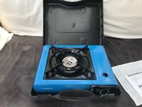 One gas ring camping stove and kettle