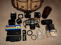 CANON AE-1 Camera together with bag and extras