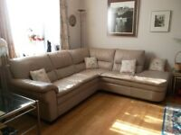 Beige Leather 5-seater corner sofa & armchair