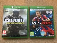Xbox One Games x2 - Call Of Duty Infinite Warfare + Pro Evolution Soccer 2015 - PES 2015 - Like New!