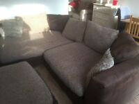 Brown and fawn corner sofa good condition