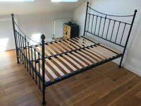 Elegant black metal double bed frame