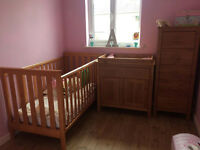 Mothercare 3 Piece Set (Cot Bed, Tallboy & Changer) with brand new mattress £100
