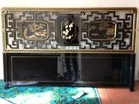Black lacquer Chinese fretwork headboard with hand painted panels.