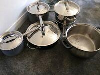 Saucepans and steamer