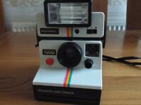 Polaroid Land Camera 1000, Polatronic Flashgun & Brown Soft Leather Look Case