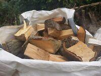 Split Logs in Ton Bag + 2 FREE Bags of Kindling Only £45.00 DELIVERED
