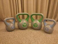 4 Kettlebells set - York Fitness Vinyl - 2x 16 KG and 2x 6 KG