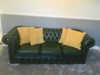 Forest Green Chesterfield 3seater sofa and Queen Ann winged back chair