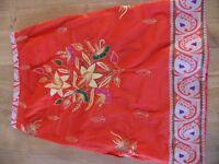 Embroidered Beaded Orange Skirt
