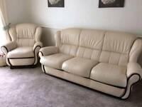 Leather sofas and arm chairs