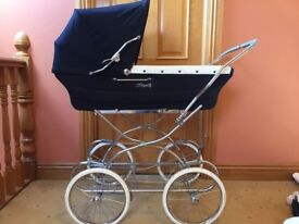 Royale Pram - Royal Blue with white wheels, great condition