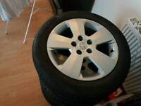 SET OF 16 VAUXHALL ALLOYS WITH TYRES 5X100 VECTRA ASTRA SAAB 95 93
