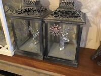 2 lantern set stag head silver inside snowflake on glass