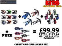 KIDS QUAD/SCRAMBLER ETC CLOTHING DEAL £99.99 HELMET,RACE SUIT,GLOVES AND GET FREE GOGGLES