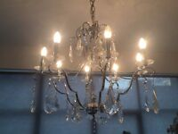 CRYSTAL AND CHROME CHANDELIER - IMMACULATE CONDITION - DESIGNER - MUST GO - MAKE ME AN OFFER