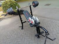 MARCY WEIGHTS BENCH & 10KG BAR & 52KG WEIGHTS & DUMBBELLS
