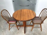 Used, Solid Oak Dining Table and 2 Chairs with matching Butchers Block for sale  Billericay, Essex