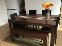 Large Dining Table with 4 Chairs and Bench Faux Leather Oak Walnut Furniture