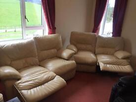 Cream leather 2x2 seaters with recliners