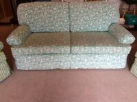 FREE! Large comfortable sofa and co-ordinating armchairs in good condition.