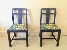 Chairs - Pair - Retro - Chalk Painted - Solid Oak