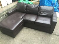 STUNNING BROWN LEATHER EFFECT CORNER SOFA