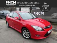 HYUNDAI I30 2010 1.6 CRDI EDITION - ONLY 59,875 MILES - £30 TAX - ceed focus astra (red) 2010