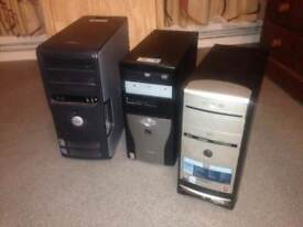 3 Desktop Computers were running windows XP - Hard drives are removed - fully working £20 each