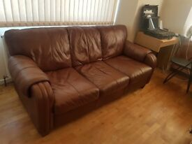 DFS 3 seater brown keather sofa