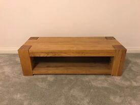 Solid oak wide TV unit with glass shelf