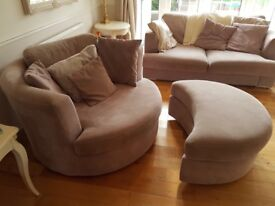 DFS 4 Seater Sofa, 2 Seater, Swivel/Cuddle Chair with half moon footstall and storage footstall