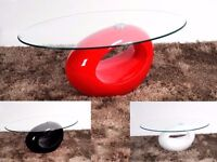 GLASS TOP WITH HIGH GLOSS OVAL BASE MODERN COFFEE TABLE 3 COLOURS AVAILABLE