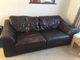 Free to a good home must go by Saturday 29th September Brown leather sofa x 2
