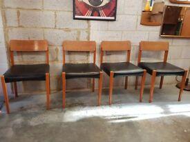 4 x Mid Century Retro Teak Chairs