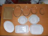 10 oven dishes - pyrex, denby and pearsons. Excellent condition.