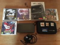 """Boxed Nintendo """"New"""" 3DS XL Metallic Black w/ HRD Case, AC Adapter & 3DS + DS Games"""