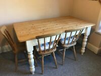 Pine farmhouse table and four chairs