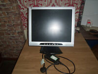 19inch TFT monitor with mains lead works 100% can be seen working comes with tilt stand