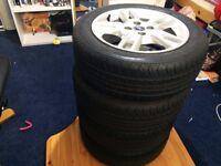 4 x FIAT Genuine Alloy Wheels and Great Tyres.Excellent Condition 185/55R15