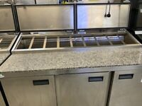 FOSTER COMMERCIAL CATERING MARBLE 3 DOORS PIZZA SALAD TOPPING FRIDGE