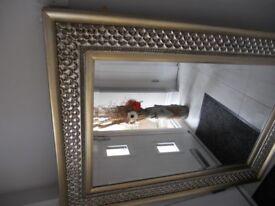 Ornate edged bevelled mirror. Alberto Champagne Silver.